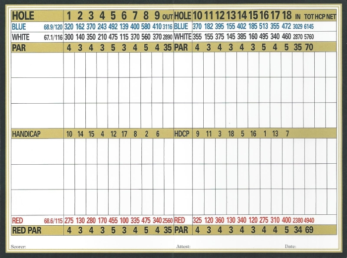 Hickory Woods Golf Course - Scorecard